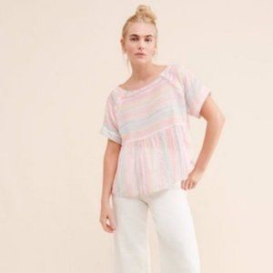 🛍 Anthropologie Neon Embroidered Babydoll Top